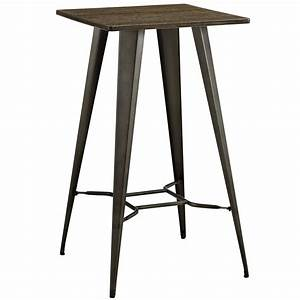 Direct Industrial Bamboo Top Bar Table With Steel Legs, Brown