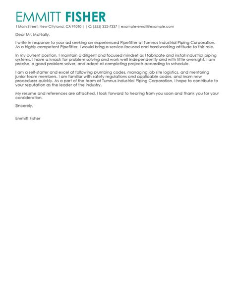 pipefitter cover letter examples livecareer