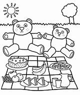 Picnic Table Coloring Printable Getcolorings Teddy Bear Cloth sketch template