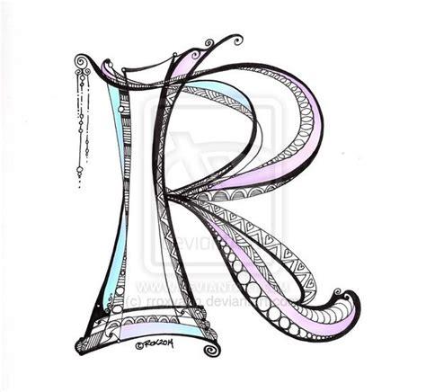 lettering r zentangle dangle monogram by rroxyann