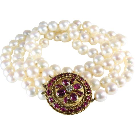 deco pearl necklace ruby 18k gold vintage