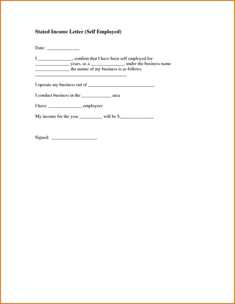 proof of income for self employed template 11 income proof letter sle lease template