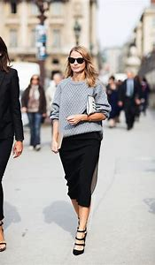 Grey Sweater with Black Pencil Skirt