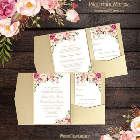 pocket fold wedding invitations romantic blossoms in 2019