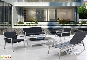 salon de jardin aluminium textilene noir manhattan 4 With charming table basse de jardin en plastique 3 salon de jardin pour enfant et mobilier dexterieur