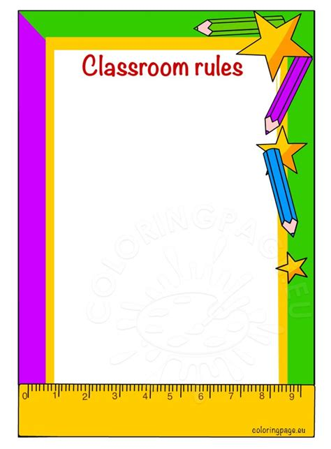 classroom rules template classroom rules printable coloring page