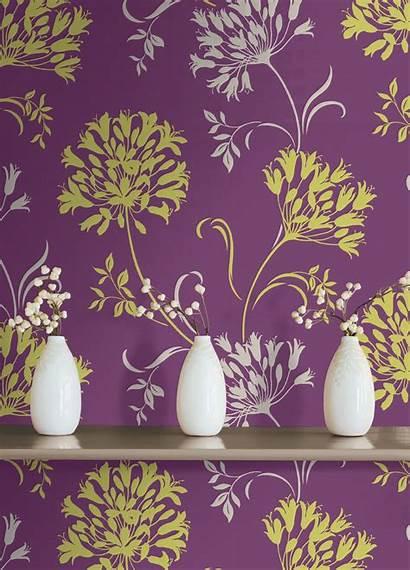 Purple Stevesblindsandwallpaper Floral