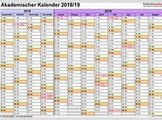 Akademischer Kalender 20182019 als ExcelVorlagen zum