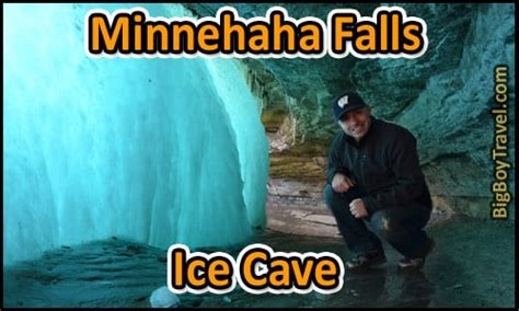 minnehaha falls ice cave  winter   waterfalls