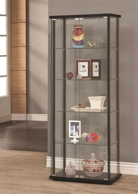 Contemporary Glass Display Cabinet by Coaster Curio Cabinets 950170 5 Shelf Contemporary Glass