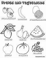 Fruits Vegetables Coloring Pages List Print Colorings Food sketch template