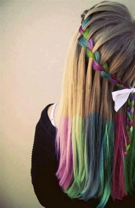 Hair Chalk Trend Rainbow Waterfall Braid Hippy Look
