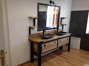 Meuble Salle De Bain Style Industriel : meuble sdb style industriel en bois et m tal plateau en ~ Teatrodelosmanantiales.com Idées de Décoration