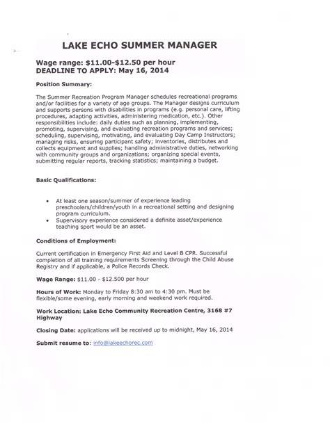 employment amp volunteer recruitment lake echo