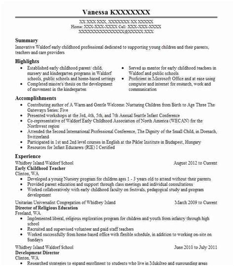 Early Childhood Resume Sle by Early Childhood Objectives Resume Objective