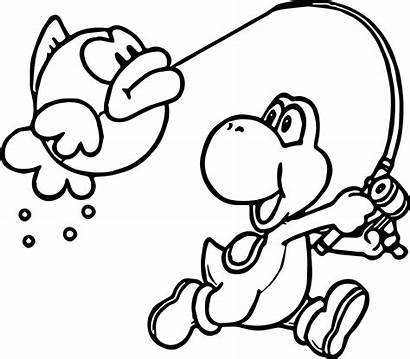 Mario Coloring Pages Nintendo Fish Yoshi Halloween