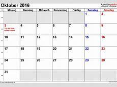 Kalender Oktober 2016 als PDFVorlagen