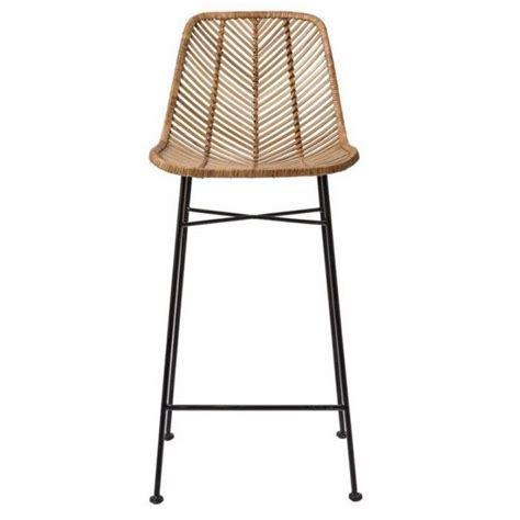 natural rattan bar stool  black metal frame