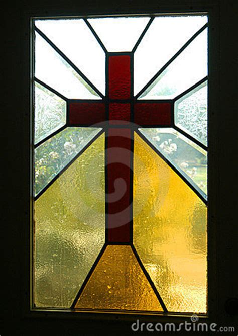 cross framed  stained glass stock images image