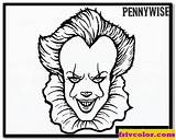 Coloring Pennywise Clown Scary Character Theseacroft Characters Children sketch template