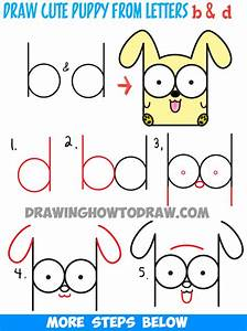 How to Draw Cartoon Baby Dog or Puppy from Letters Easy ...