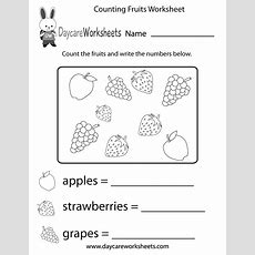Free Counting Fruits Worksheet For Preschool