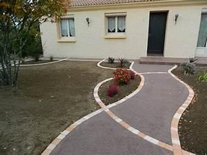allee de jardin en beton drainant colore pose de sol With allee de jardin en beton