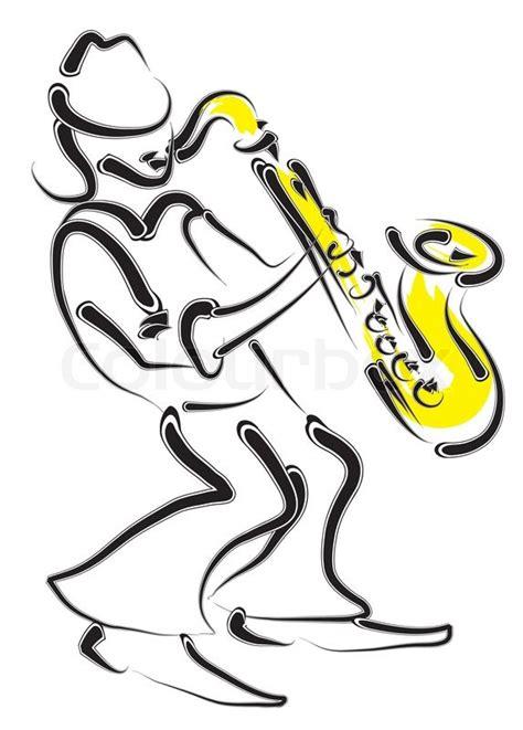 vector stilisierten saxophon und musiker vektorgrafik