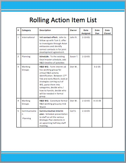 rolling action item list template word templates
