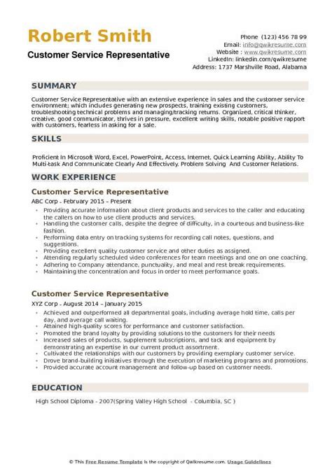 Customer Service Representative Resume Sles by 9 10 Education And Resume Tablethreeten
