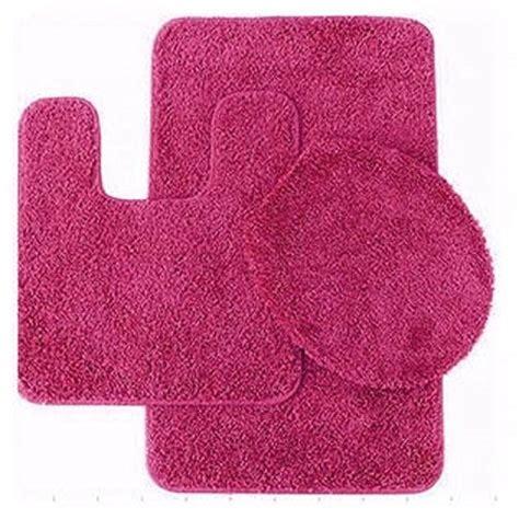 pc  hot pink banded bathroom set bath mat countour rug
