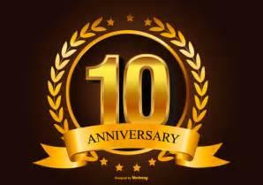 congratulation banner golden 10th anniversary illustration free