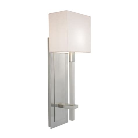 modern sconce wall light with white shade in satin nickel finish 4436 13 destination lighting