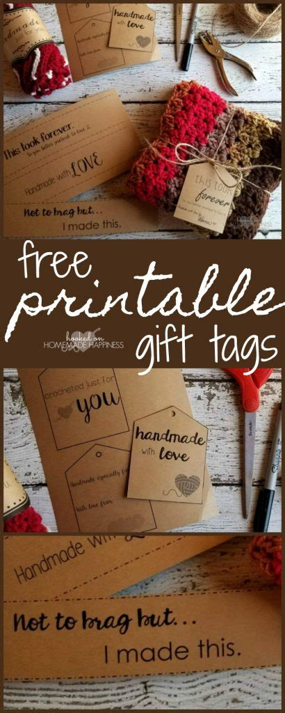 printable gift tags hooked  homemade happiness