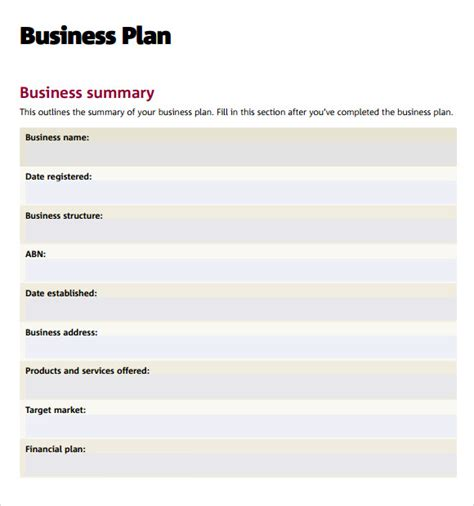 sample business plan  documents  word excel