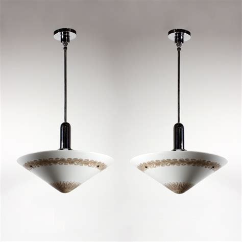 two matching antique large pendant lights with original