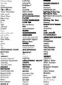 All Font Styles List