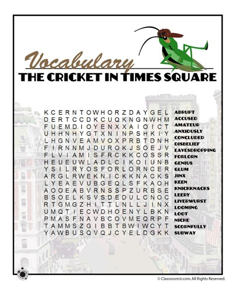 the cricket in times square worksheets the cricket in times square vocabulary word search woo