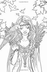 Coloring Elf Pages Fairy Adult Printable Fantasy Gothic Colouring Fairies Adults Books Elves Detailed Mythical Mystical Rocks Selina Fenech Artist sketch template