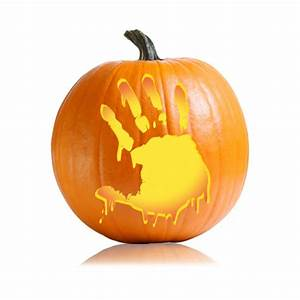 Bloody, Hand, Pumpkin, Carving, Pattern