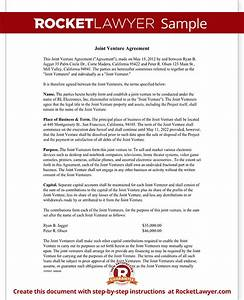 joint venture agreement template joint venture contract With free joint will template