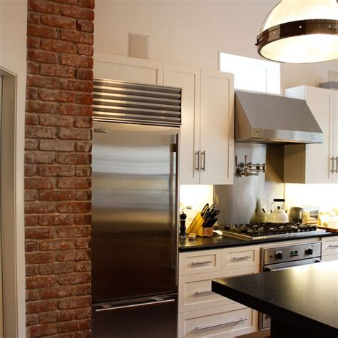 exposed brick kitchen kitchen with exposed brick transitional kitchen