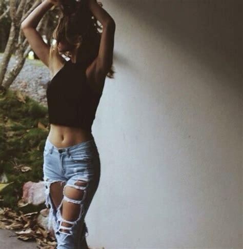 High Waist Destroyed Ripped Leisure Pants Distressed Denim Crop Wornout Jeans