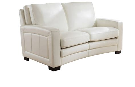 White Leather Loveseat by Joanna Top Grain Ivory White Leather Loveseat