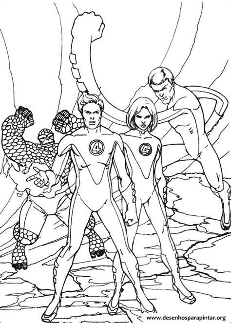 quarteto fantastico desenhos  colorir imprimir