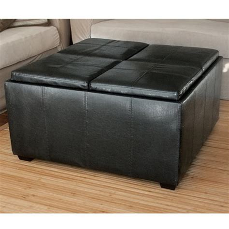 Leather Ottoman With 4 Tray Tops Storage Bench Coffee