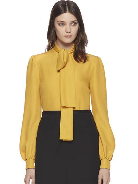 fitted shirt dress lyst gucci silk cloque scarf blouse in yellow