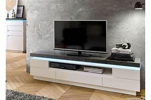 Meuble Tv Effet Beton : meuble tv design laqu blanc mat et effet b ton led cbc meubles ~ Teatrodelosmanantiales.com Idées de Décoration