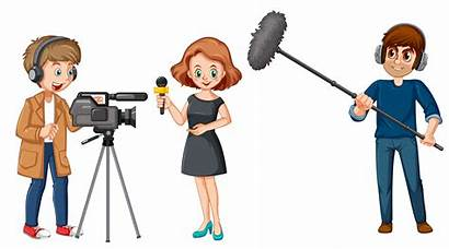 Broadcast Characters Vector Illustration Character Interview Clipart