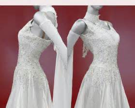 wedding dress consignment white ballroom dress with gloves and float dancedress